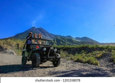 Yogyakarta, Indonesia - July 27th 2018 : Morning Light on Merapi Volcano, Merapi Lava Tour, Yogyakarta Indonesia.