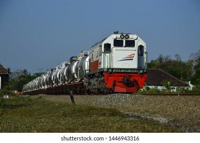 Yogyakarta, Indonesia - July 9, 2019: Pertamina Freight Oil Train
