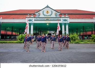 Yogyakarta, Indonesia - June 10th 2018 : The Abdi Dalem or Servant of The Sultan training ceremony of Grebeg Syawal, Kraton Yogyakarta Indonesia