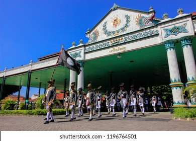Yogyakarta, Indonesia - June 15th 2018 : Yogyakarta palace soldiers are opening ceremony Gunungan Grebeg  Sawal which is a cultural tradition in the Palace of Yogyakarta, Indonesia.