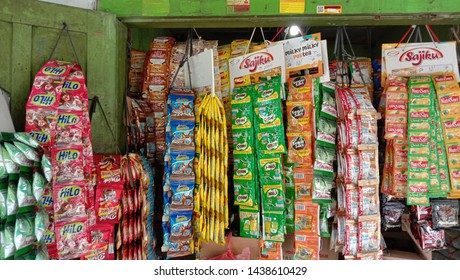 Yogyakarta, Indonesia - June 20, 2019: product display in the form of a sachet in a traditional shop