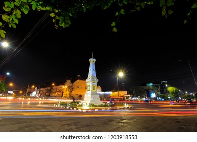 Yogyakarta, Indonesia - June 6th 2018 : Tugu Jogja or often called the White Paal, is a symbol of the city Yogyakarta Indonesia / The Most Popular Landmark in Yogyakarta, Yogyakarta Indonesia