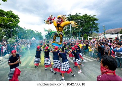 Yogyakarta, Indonesia - March 10 2018: Ogoh - Ogoh Festival is a traditional ritual of Hindu Religion in the form of parade carrying tolerance between religious and togetherness.