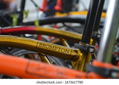 YOGYAKARTA, INDONESIA - March 10, 2020: Sign Brompton on folding bicycles . Brompton bicycle is a British manufacturer based in Greenford and was found in 1976