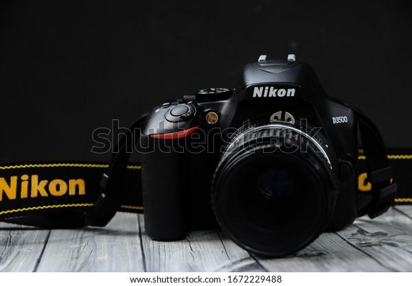 Yogyakarta, Indonesia - March 10, 2020 : Nikon D3500 DSLR Camera
