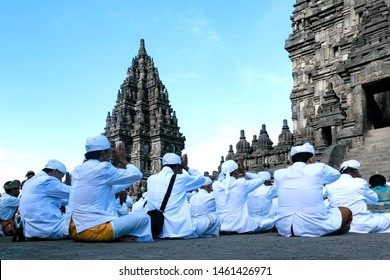 "Yogyakarta, Indonesia - March 16, 2018 - Indonesian Hindus take part in a ritual ceremony ""Tawur Agung Kesanga,"" or Great Purification Ceremony, held to welcome Nyepi, the annual day of silence"