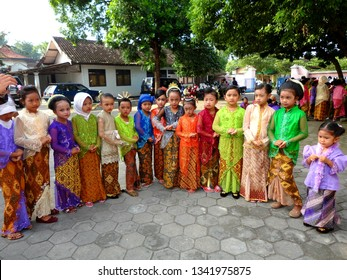 YOGYAKARTA, INDONESIA - MARCH 17, 2019 : The children wearing traditional clothes from each province in Indonesia.  It is called Kartini Day.
