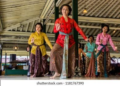 Yogyakarta, Indonesia - March 19th 2017 : Traditional dance perfomance at Kraton Ngayogyakarta Hadiningrat, The Sultan Palace, Yogyakarta Indonesia / Gladhen Beksan Putri Kraton