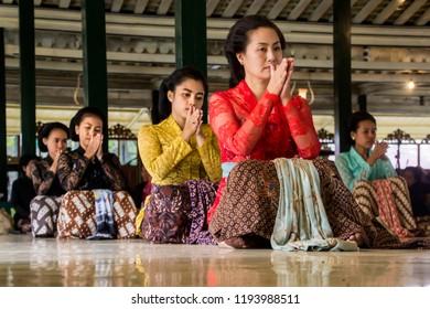 Yogyakarta, Indonesia - March 19th 2017 : Traditional dance perfomance at Kraton Ngayogyakarta Hadiningrat, The Sultan Palace / Gladhen Beksan at Bangsal Kasatriyan Kraton Yogyakarta