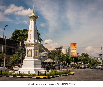 YOGYAKARTA, INDONESIA - March 23,  2018: This monument called as TUGU JOGJA which icon and symbol of Yogyakarta city in Indonesia.