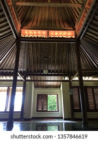 Yogyakarta, Indonesia - March 31, 2019: Warung Bumi Langit (earth and sky) with Javanese name is Songgo Langit. It is organic restaurant in Imogiri, Yogyakarta. It have exotic and beautiful view