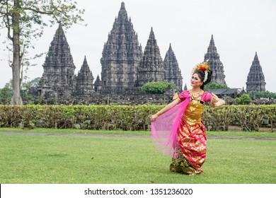 Yogyakarta, Indonesia - March 6th 2019 : Balinese Traditional Dance at Prambanan Temple, Yogyakarta Indonesia.