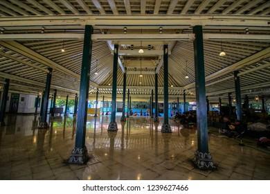 Yogyakarta, Indonesia - May 20th 2018 : Interior of Bangsal Kasatriyan, Kraton Yogyakarta Indonesia