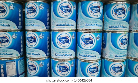 Yogyakarta, Indonesia - May 23, 2019: Frisian Flag or well known as Susu Bendera, a famous brand of milk factory in Indonesia sold at Indomaret minimarket shop.