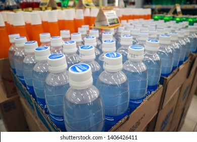 Yogyakarta, Indonesia - May 24, 2019: Pocari Sweat sold at Indomaret minimarket shop. One of the most popular soft drinks and sports drinks in Indoneia, produced by Otsuka Pharmaceutical, Japan.