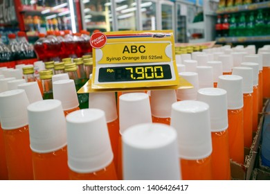 Yogyakarta, Indonesia - May 24, 2019: Sirup ABC sold at Indomaret minimarket shop, is syrup commonly found in Indonesia at affordable prices.