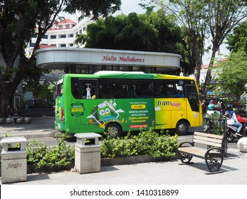"""Yogyakarta / Indonesia - May 29 2019: """"Trans Jogja"""" bus. """"Trans Jogja"""" is public transportation that local government provide for their citizens"""