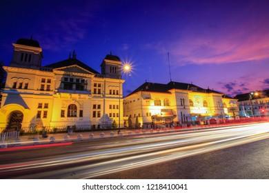Yogyakarta, Indonesia - November 1st 2018 : Beautiful twilight in Yogyakarta / Bank Indonesia building is one of the landmarks in Yogyakarta / Senja di Titik Nol Km Yogyakarta