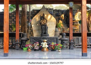 Yogyakarta, Indonesia - November19, 2019 : Jesus Temple and Mary statue of a Catholic pilgrimage site in Ganjuran, Bantul, Yogyakarta.