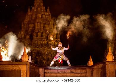 YOGYAKARTA, INDONESIA - OCT 12: Ramayana Ballet performer at Pra