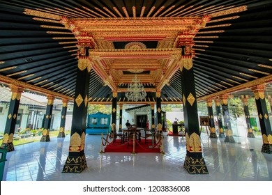 Yogyakarta, Indonesia - October 14th 2018 : Interior of the reception hall Bangsal Kencana / Golden Pavilion of the Sultan's Palace / Kraton , Yogyakarta Indonesia