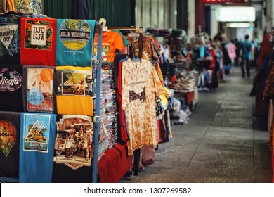 Yogyakarta, Indonesia - October 15, 2017 : Jogja's t-shirt is a souvenir for tourists in Jogja. Many other souvenirs are often found along the sidewalk of Malioboro street.