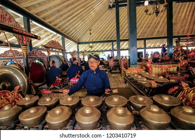 Yogyakarta, Indonesia - October 15th 2018: Gamelan orchestra at Kraton Yogyakarta, Indonesia. Gamelan is a traditional instrument from Indonesia.