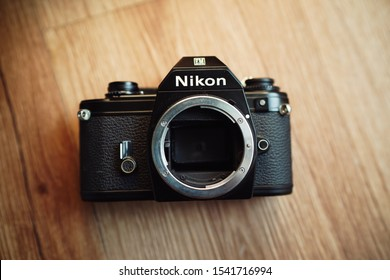 YOGYAKARTA, INDONESIA - October 26, 2019: This is one of the vintage cameras from NIKON, NIKON EM analog