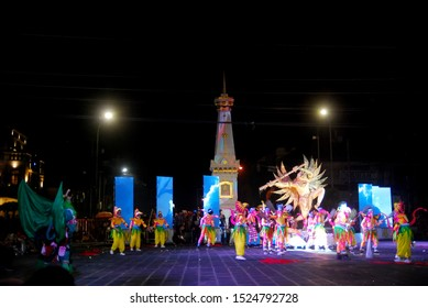 Yogyakarta, Indonesia - October 7, 2019: the original puppet kapi-kapi puppets of the Yogyakarta Palace act in the Tugu area of Yogyakarta to enliven the 263th birthday celebration of Yogyakarta City