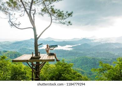 Yogyakarta, Indonesia- September 16 2017: Viewpoint Kalibiru National Park.