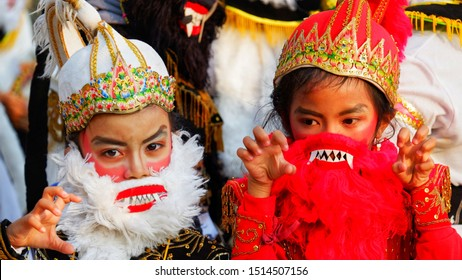 YOGYAKARTA, INDONESIA - SEPTEMBER 22, 2019 : Wayang orang at Breksi Cliff, Sleman, Yogyakarta. This Folklore Festival 2019. This wayang orang is rama sinta and gunungan.