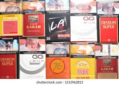 Yogyakarta, Indonesia - September 26th 2019: Some packs of Indonesian cigarette brands.