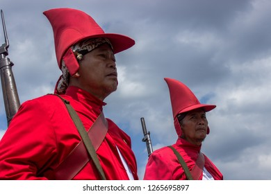 Yogyakarta, Indonesia - September 2nd 2017: Yogyakarta palace soldiers in the Grebeg Besar Ceremony which is a cultural tradition in the Palace of Yogyakarta, Indonesia