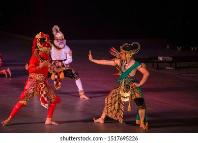 YOGYAKARTA INDONESIA SEPTEMBER 30 2019 : Sendratari Ramayana Prambanan at Prambanan temple is based on epic Hindu poem and represents Javanese style, culture and music