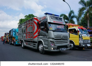 Yogyakarta, Indonesia - September 7 2018:  More than 20 trucks have been modified to join the truck parade in the 2018 Jogjakarta Truck Festival