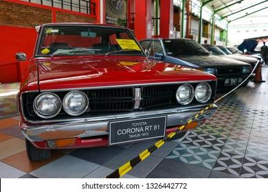 Yogyakarta, Indonesia - September 9 2018: Some classic Toyota Corona cars on display at the 2018 Jogja Corona Festival to commemoration of the 11th anniversary of Jogja Corona Club.