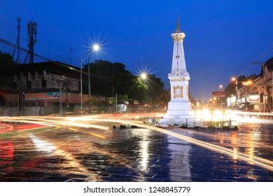 Yogyakarta, Indonesia-April/04/2016. The afternoon atmosphere of the Jogja Monument/Tugu Jogja after light rain.