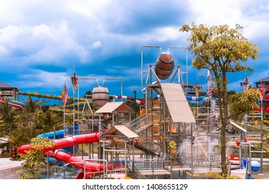 Yogyakarta, Indonesia-December 6, 2016: Picture of Water Attraction in Jogja Bay Water Park