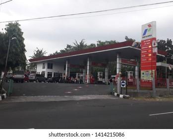 Yogyakarta, Indonesia-May 26, 2019 : Pertamina gas station at Yogyakrta city