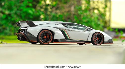Yogyakarta, January 10, 2018 : Autoart diecast model car. This is Lamborghini Veneno diecast car.