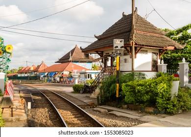 Yogyakarta, Java, Indonesia - February 4 2015: Crossing keeper station at the level crossing Mangkubumi Road