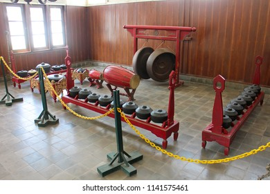 YOGYAKARTA JULY 7, 2018 - Gamelan music instrument owned by King of Yogyakarta are set and look dirty in the museum during morning visitor hour in Yogyakarta Indonesia