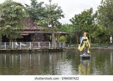 Yogyakarta, June 3, 2021 : statue of Nyi Roro kidul on the lake