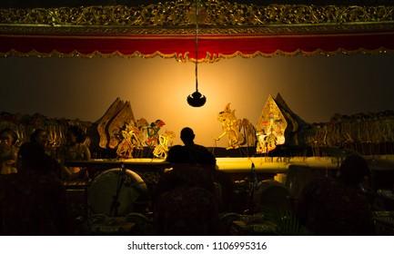 YOGYAKARTA, May 1st 2018: Stage performance of wayang kulit, traditional art of Java, Indonesia