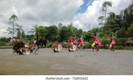 YOGYAKARTA - SEPT 7, 2015: Traditional dance called Kuda Lumping or Jaranan/Jathilan participating in Art and Culture Festival in Yogyakarta, Indonesia.