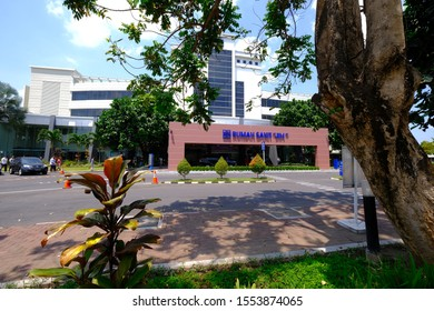 Yogyakarta - September 02, 2019: A view to the entrance at JIH or Jogja International Hospital. A famous private hospital in yogyakarta