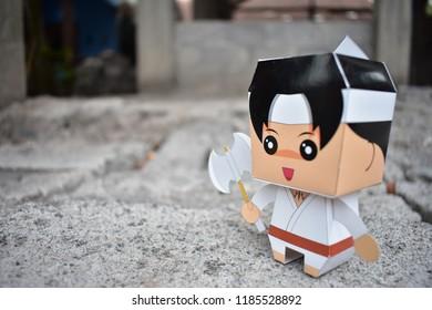 Yogyakarta, September 22, 2018 : Wiro Sableng paper toys. Wiro Sableng paper toys made by ganeshandra. This is Wiro Sableng paper toys. Shoot at outdoor area.