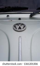 Yogyakarta,ID - April 6,2019 : vw 1303 super beetle emblem,vw logo,silver colour
