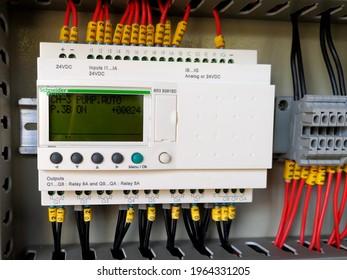 Yogyakarta,Indonesia,April 28,2021.Schneider Smart Relay Zelio Logic to use controlling electrical pump motor.
