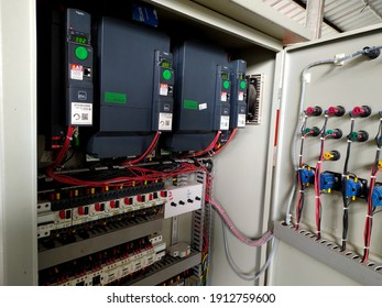Yogyakarta,Indonesia,February 7,2021.Inverter panel controlling for electric current and power in industrial.